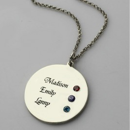 Grandma's Disc Birthstone Necklace