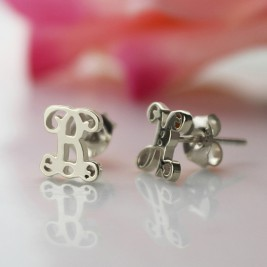 Personalised Single Monogram Stud Earrings Sterling Silver
