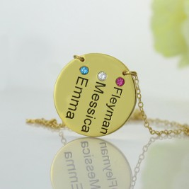 Disc Birthstone Family Names Necklace in 18ct Gold Plated