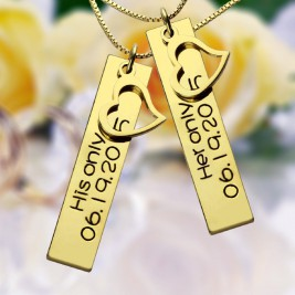 Couples Bar Necklace Engraved Name  Date 18ct Gold Plated