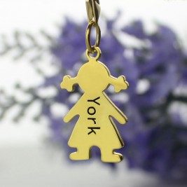 Personalised Baby Girl Pendant Necklace With Name Gold Plated Silver