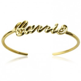 Personalised 18ct Gold Plated Name Bangle Bracelet