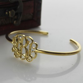 Personalised Celebrity Monogram Initial Bangle 18ct Gold Plated