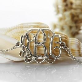 Celebrity Monogram Initial Bracelet Sterling Silver
