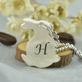 Personalised Rabbit Initial Charm Pendant Sterling Silver