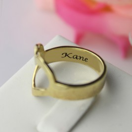Custom Heart Couple's Promise Ring With Name Gold Plated Silver