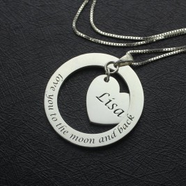 Custom Promise Necklace with Name  Phrase Sterling Silver