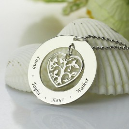 Personalised Heart Family Tree Necklace Sterling Silver