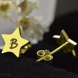 Star Stud Initial Earrings In Gold