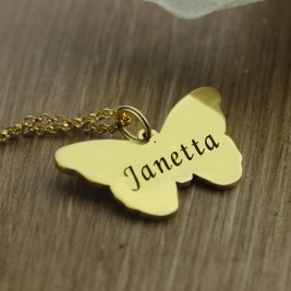 Custom Charming Butterfly Pendant Emgraved Name 18ct Gold Plated