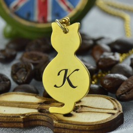 Gold Over Cat Initial Pendant Necklace