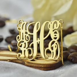 Gold Plated Family Monogram Necklace With 5 Initials