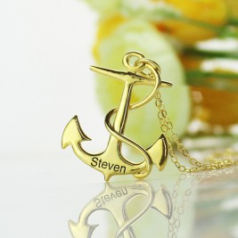 Anchor Necklace Charms Engraved Your Name 18ct Gold Plated Silver