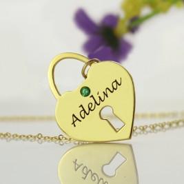 I Love You Heart Lock Keepsake Necklace With Name 18ct Gold Plated
