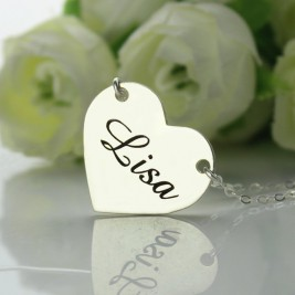 Stamped Name Heart Love Necklaces Sterling Silver