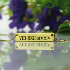 Personalised Roman Numeral Bar Necklace 18ct Gold Plated