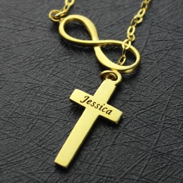Infinity Symbol Cross Name Necklace 18ct Gold Plated