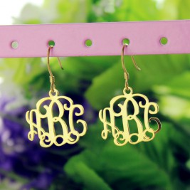 18ct Gold Plated Monogram Earrings