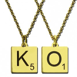 Engraved Scrabble Initial Letter Necklace 18ct Gold Plated