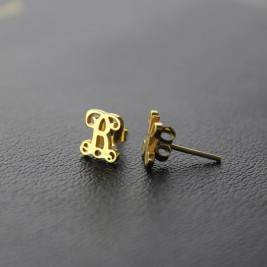 Single Monogram Stud Earrings 18ct Gold Plated