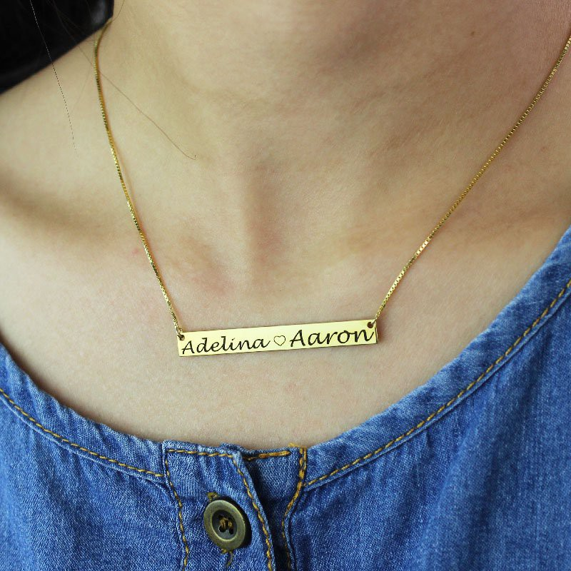c0856befe650f Gold Bar Necklace Engraved Double Name