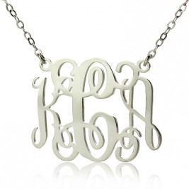 Alexis Bellino Style Monogram Necklace Solid White Gold 18ct