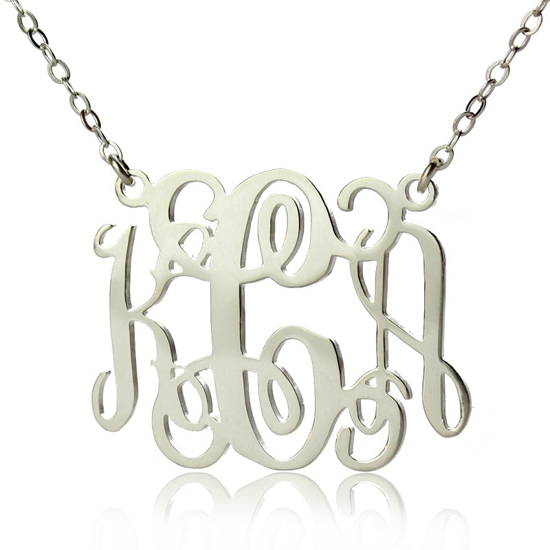 alexis bellino style monogram necklace solid white gold 18ct. Black Bedroom Furniture Sets. Home Design Ideas