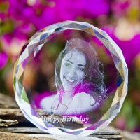 Circle Laced Shape Crystal With 2D/3D Photo Engraved