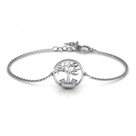 Personalised 1 - 4 Stone Family Tree Bracelet