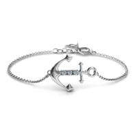 Personalised Anchor Bracelet with Three Stones