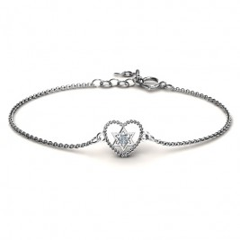 Personalised Chained Heart with Star of David Bracelet