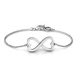Personalised Double Heart Infinity Bracelet