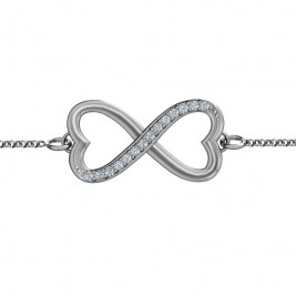 Personalised Double Heart Infinity Bracelet with Accents