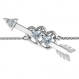 Double Heart with Arrow and Two Heart Stones Promise Bracelet