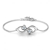 Personalised Duo of Hearts and Stones Infinity Bracelet