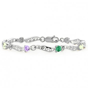 Personalised Embedded Hearts 1-8 Stones Bracelet