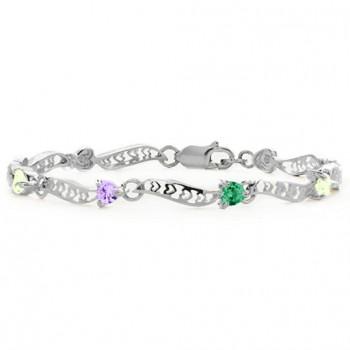 Personalised Embedded Hearts 1-8 Stones Bracelet