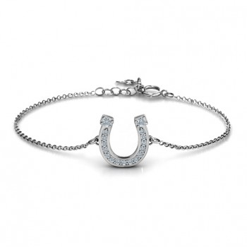 Horseshoe Bracelet with Two Stones and Accents