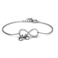 Infinity Promise Bracelet with Two Heart Charms