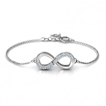 Sterling Silver Birthstone Accent Infinity Bracelet