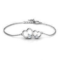 Sterling Silver Double Heart With Two Stones Bracelet