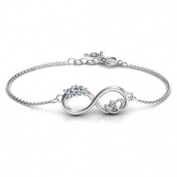 Sterling Silver Double the Love Infinity Bracelet