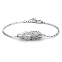 Sterling Silver Feather with Accent Stones Bracelet