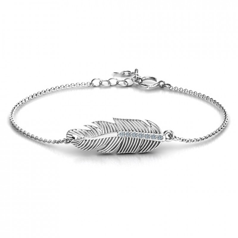 Sterling Silver Feather With Accent