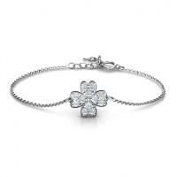 Sterling Silver Four Leaf Heart Clover Bracelet