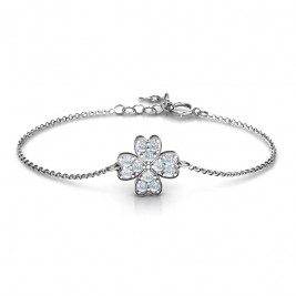 Sterling Silver Four Leaf Heart Clover Bracelet