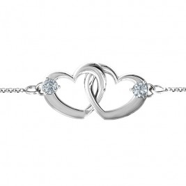 Sterling Silver Interlocking Heart Promise Bracelet with Two Stones