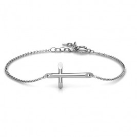 Personalised Sterling Silver Modern Cross Bracelet