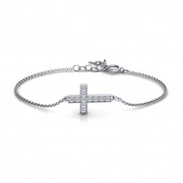 Sterling Silver Shimmering Cross Bracelet With Cubic Zirconia Accent Stones