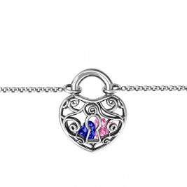 Personalised Sterling Silver True Love's Lock Caged Bracelet